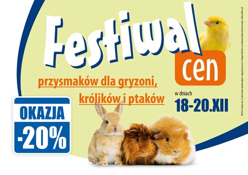Festival prices on all treats for rodents, rabbits and birds - 20%